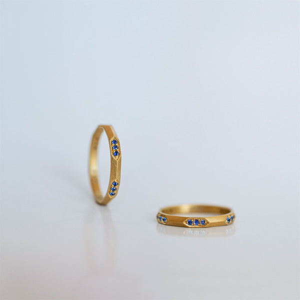 Six Hexagons ring - 18k solid gold & sapphires