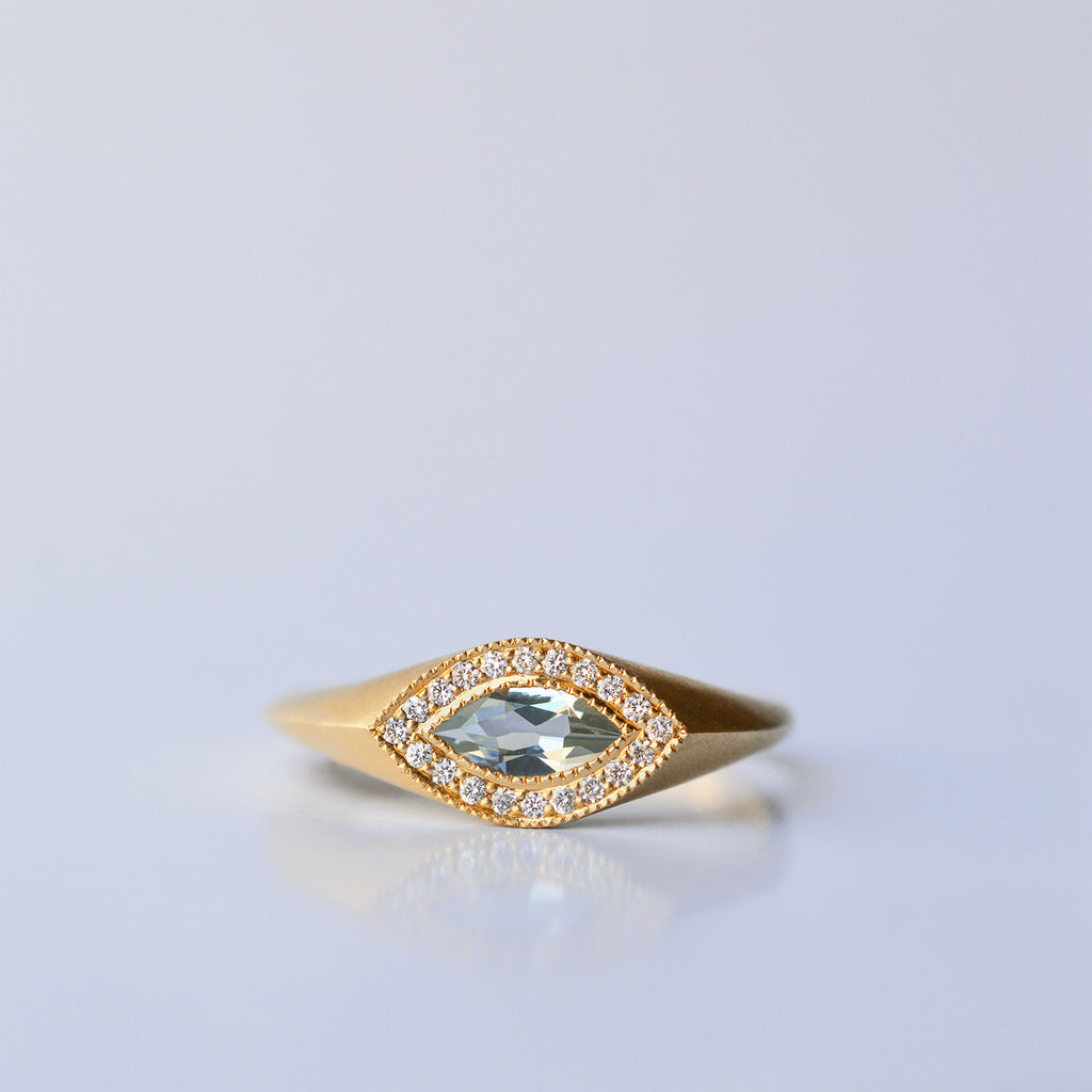 Marquis ring - 18k solid gold & Aquamarine