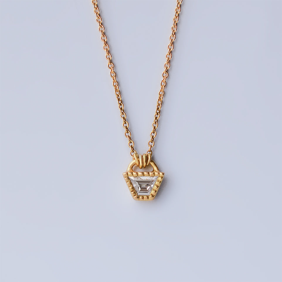 Diamond Trapezoid necklace - 18k solid gold