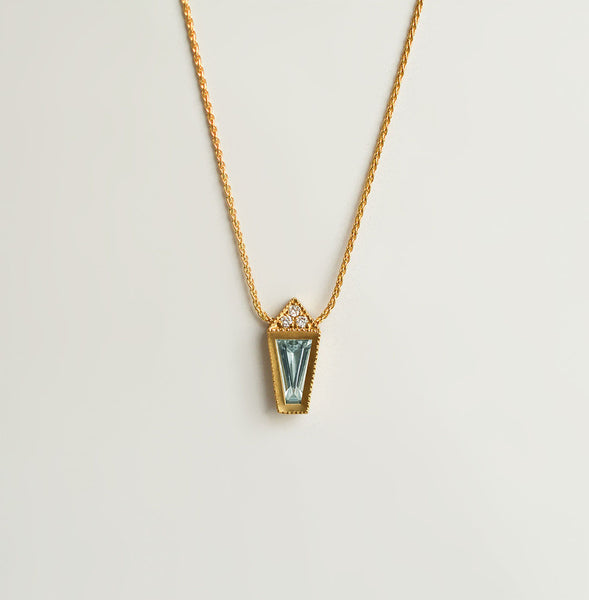 Aquamarine Taper necklace - 18k solid gold