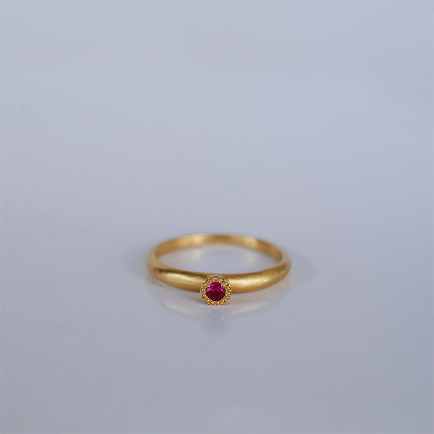 Small Ruby ring - 18k solid gold