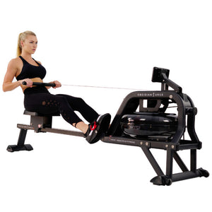Sunny Health & Fitness Obsidian Surge Water Rowing Machine - Indoor Cyclery
