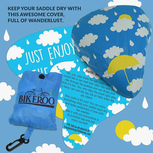 Bikeroo Rain & Dust Seat Cover - Rainy Clouds Design - Indoor Cyclery
