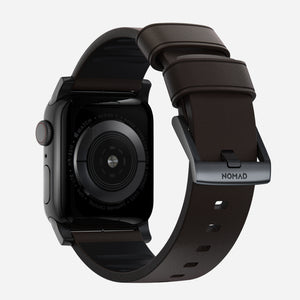 44mm Active Strap Pro | Classic Brown Waterproof Leather | Black Hardware by Nomad