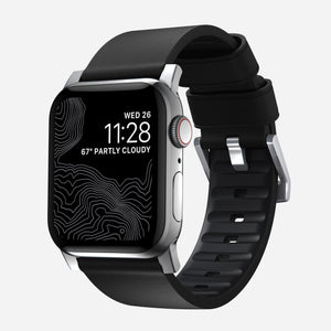 44mm Active Strap Pro | Black Waterproof Leather | Silver Hardware by Nomad