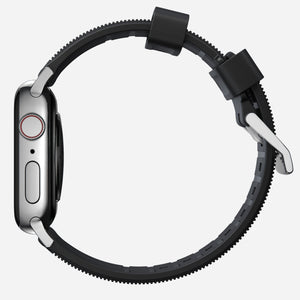 44mm Rugged Strap | Black FKM Rubber | Silver Hardware by Nomad