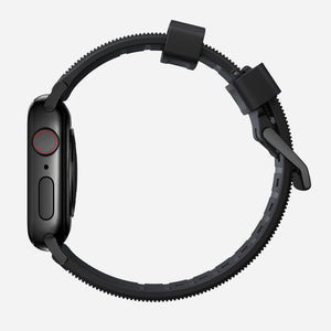 44mm Rugged Strap | Black FKM Rubber | Black Hardware by Nomad