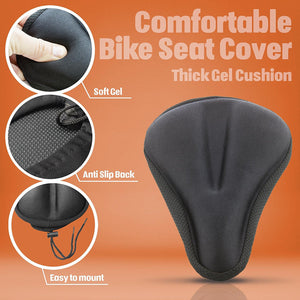 Bikeroo Comfortable Exercise Bike Gel Seat Cover-Black - Indoor Cyclery