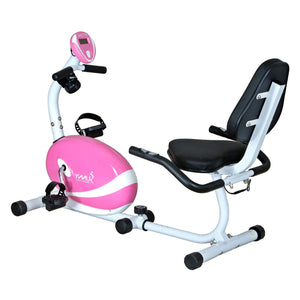 Sunny Health & Fitness Pink Magnetic Recumbent Bike - Indoor Cyclery