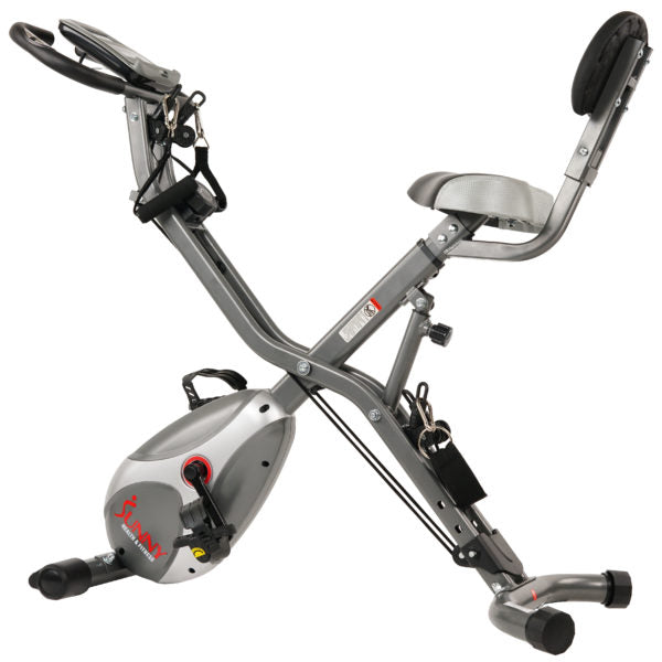 Sunny Health & Fitness SF-B2710 Foldable Semi Recumbent Magnetic Upright Total Body Bike - Indoor Cyclery