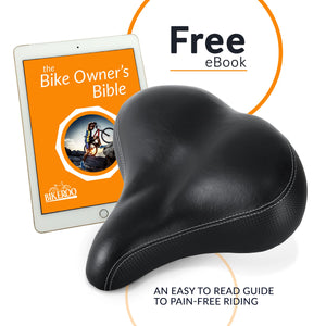 Bikeroo Large Padded Comfort Bike Seat for Seniors for Men and Women - Indoor Cyclery