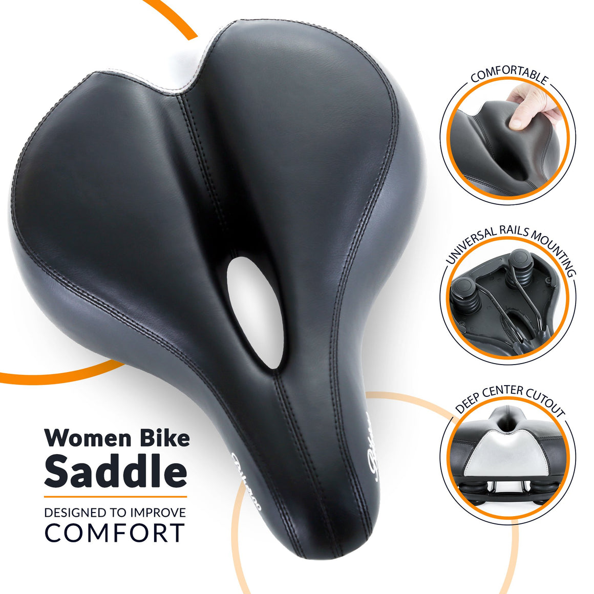 Bikeroo Comfortable Bike Seat for Women-Black & White - Indoor Cyclery