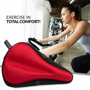 Bikeroo Comfortable Exercise Bike Gel Seat Cover-Red - Indoor Cyclery