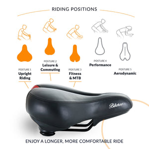 Bikeroo Comfortable Bike Seat for Women-Black & Red - Indoor Cyclery