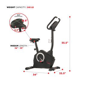 Sunny Health & Fitness Programmable Upright Bike