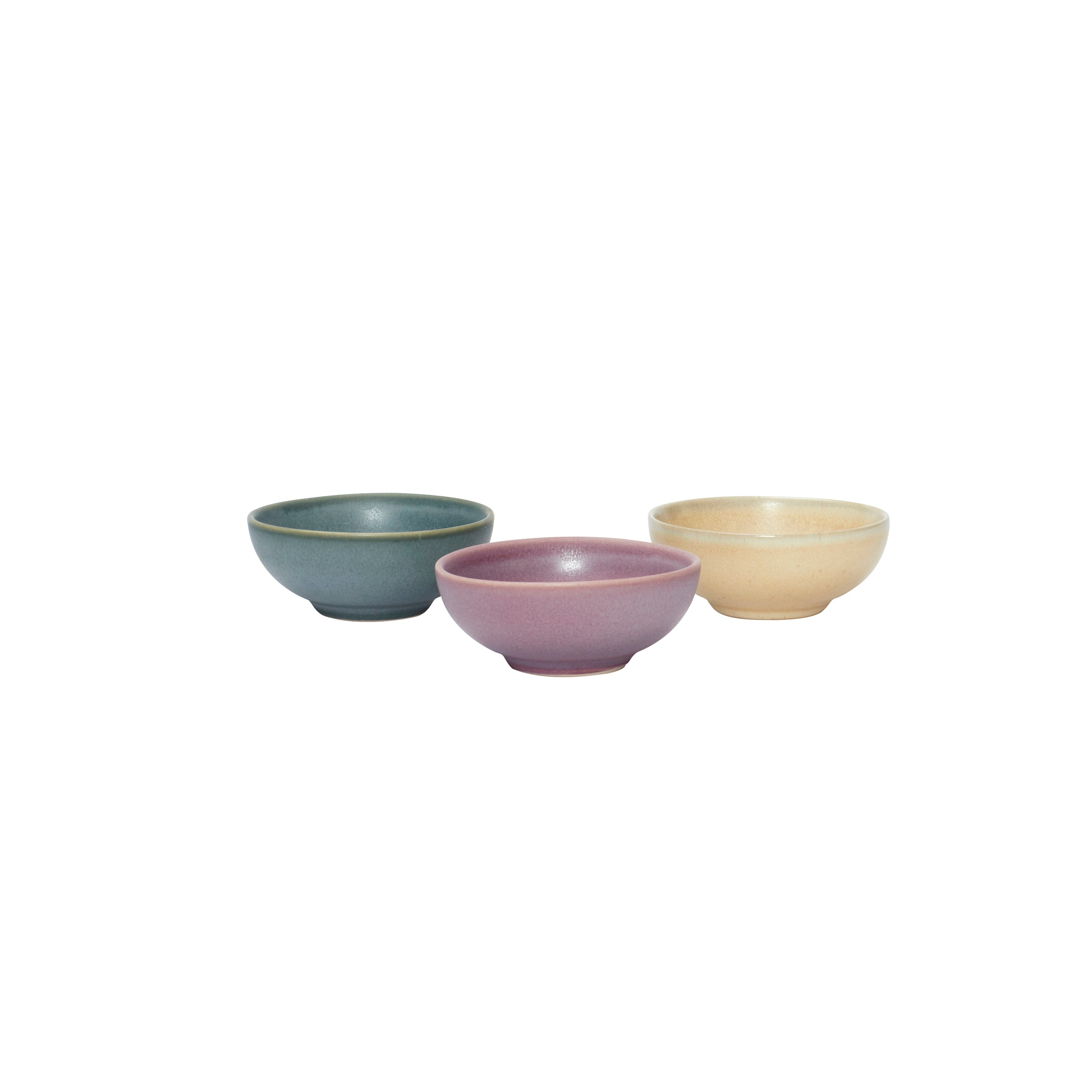 Set of 3 Small Ceramic Bowls - Sand, Purple, Green