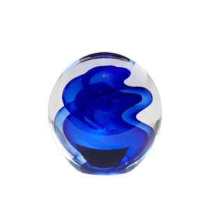 Clear Glass Paperweight with Blue Waves