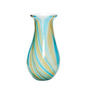Multi Coloured Glass Vase - Blue and Yellow Stripes