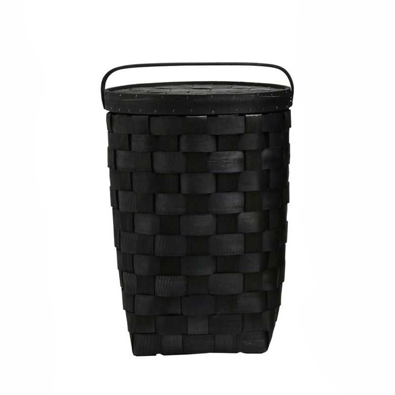 Black Laundry Basket with Lid Large