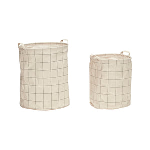 Waxed Inner Cotton Mix Laundry Basket in Grids Print