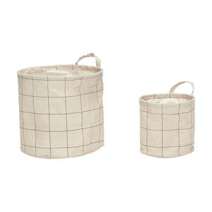 Hubsch Waxed Inner Cotton Mix Basket in Grids Print with One Handle