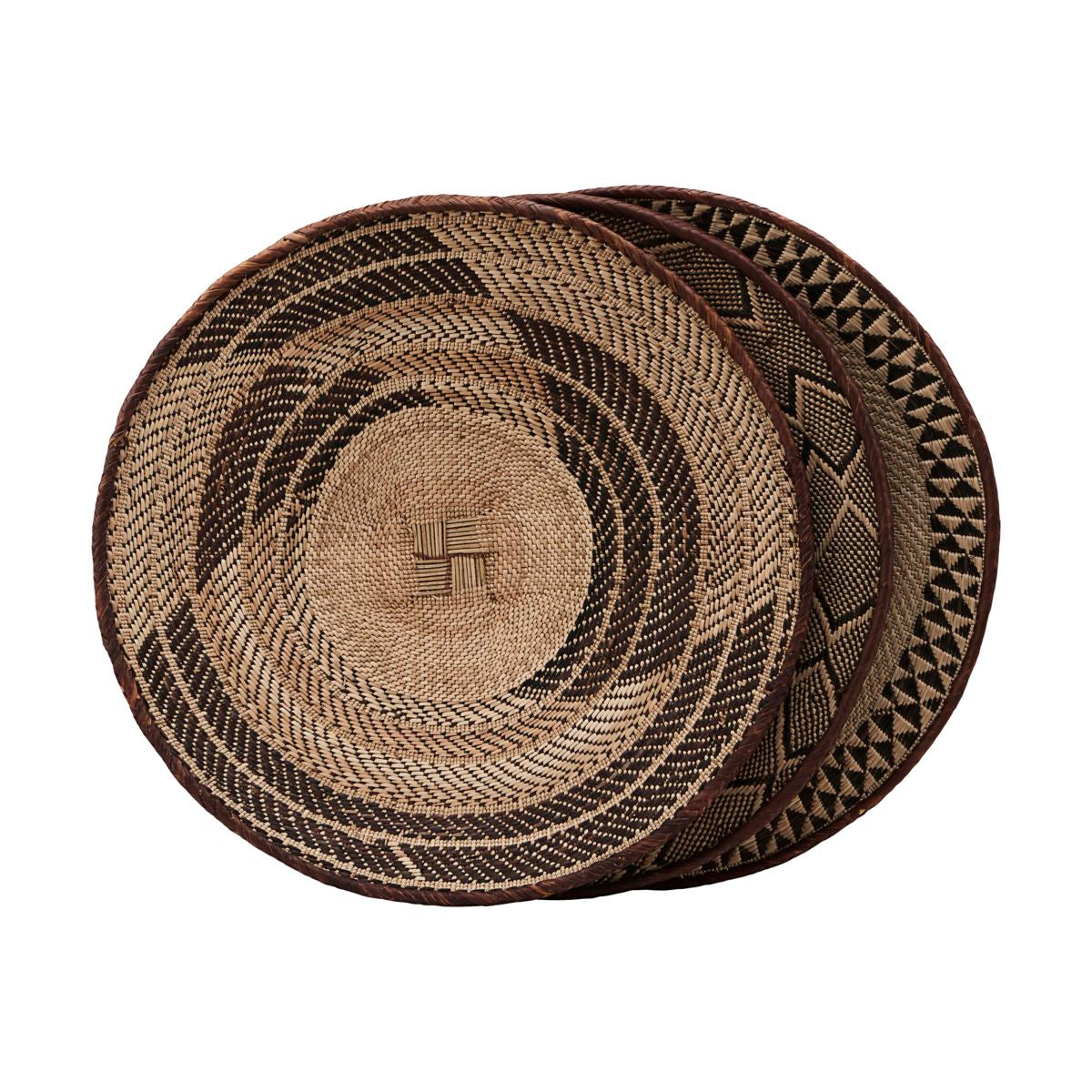Decorative Shallow Hand Woven Basket in Large
