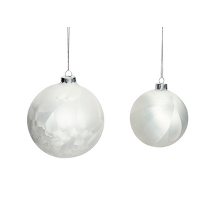 White Glass Christmas Baubles(Set of 2)