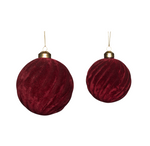 Red Velour Ribbed Christmas Bauble(Set of 2)