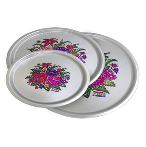 24cm Tin Tray with Flowers Print