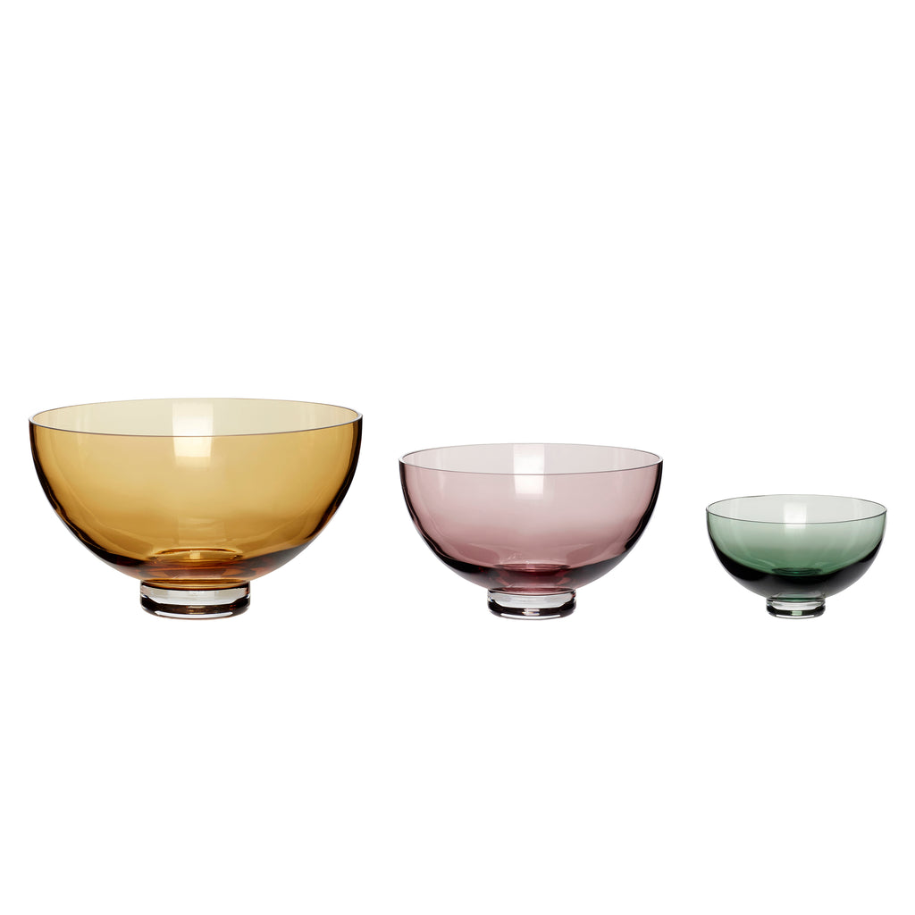 Set of 3 Fluted Glass Bowls in Amber, Rosa, Green