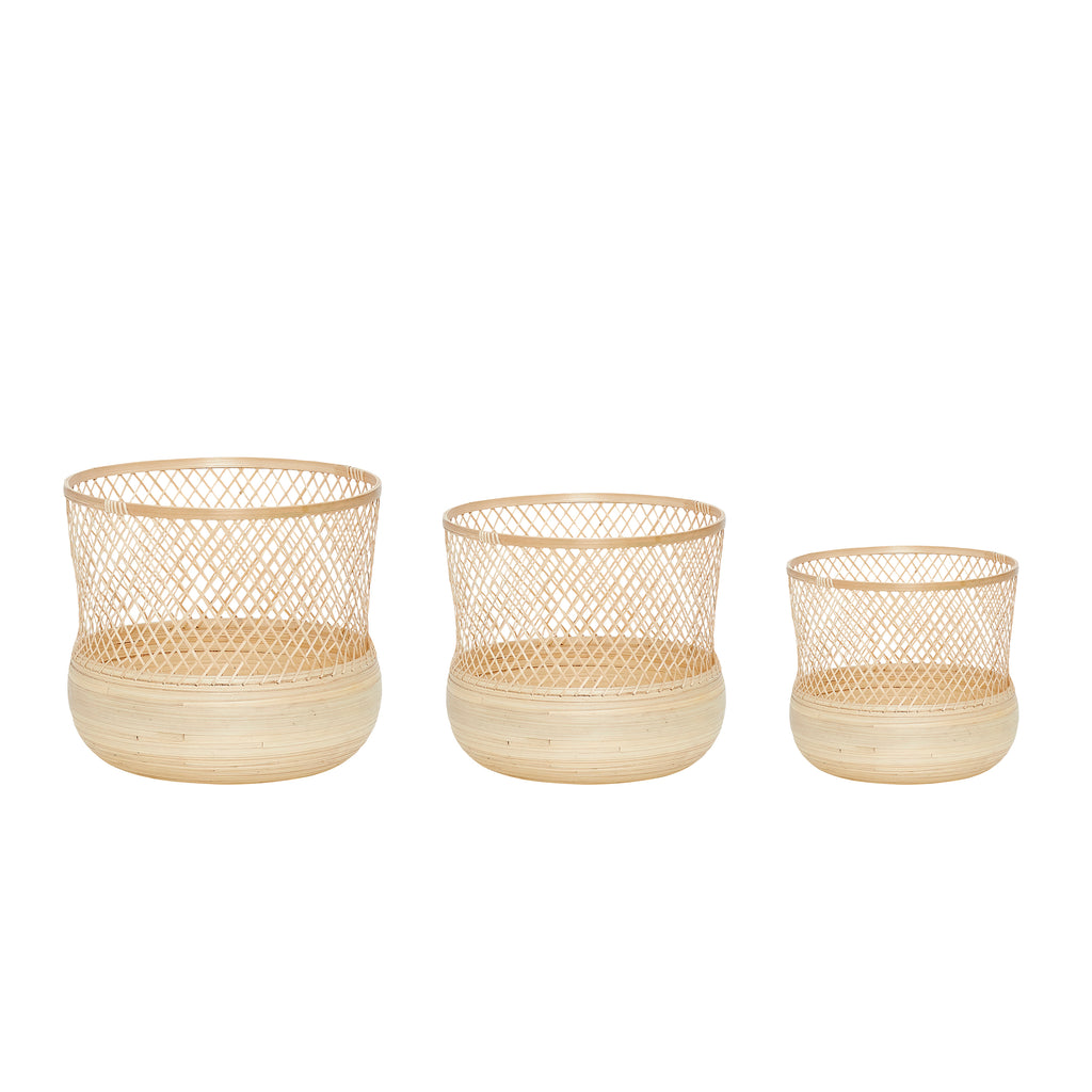 Set of 3 Round Bamboo Baskets