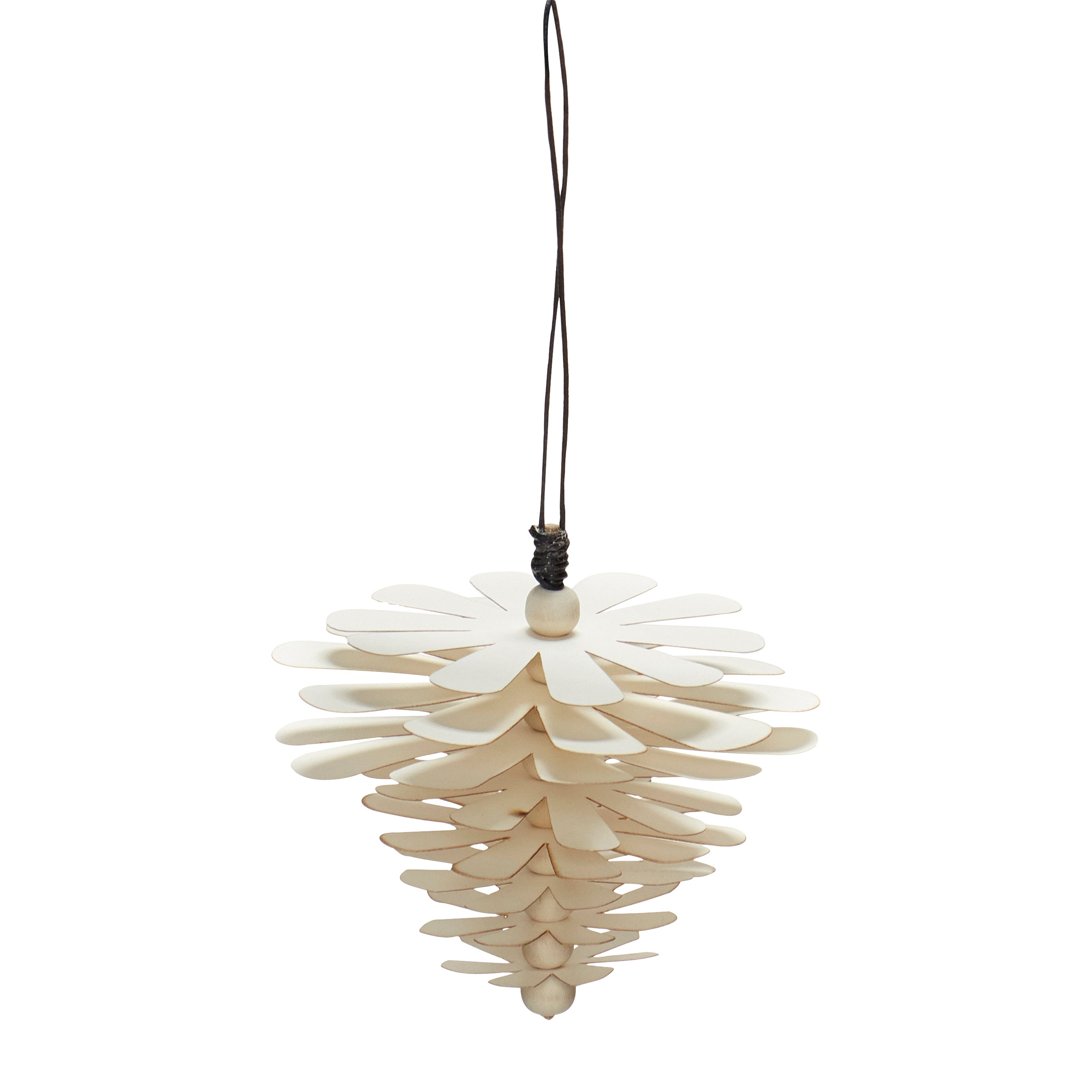 Hubsch Pine Cone Shape Christmas Bauble in White