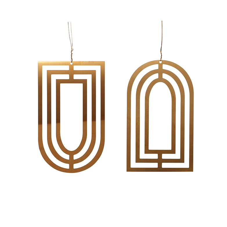 Brass Christmas Ornaments Set in Arched Shape(Set of 2)