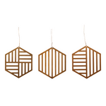 Brass Christmas Ornaments Set in Hexagon Shape(Set of 3)