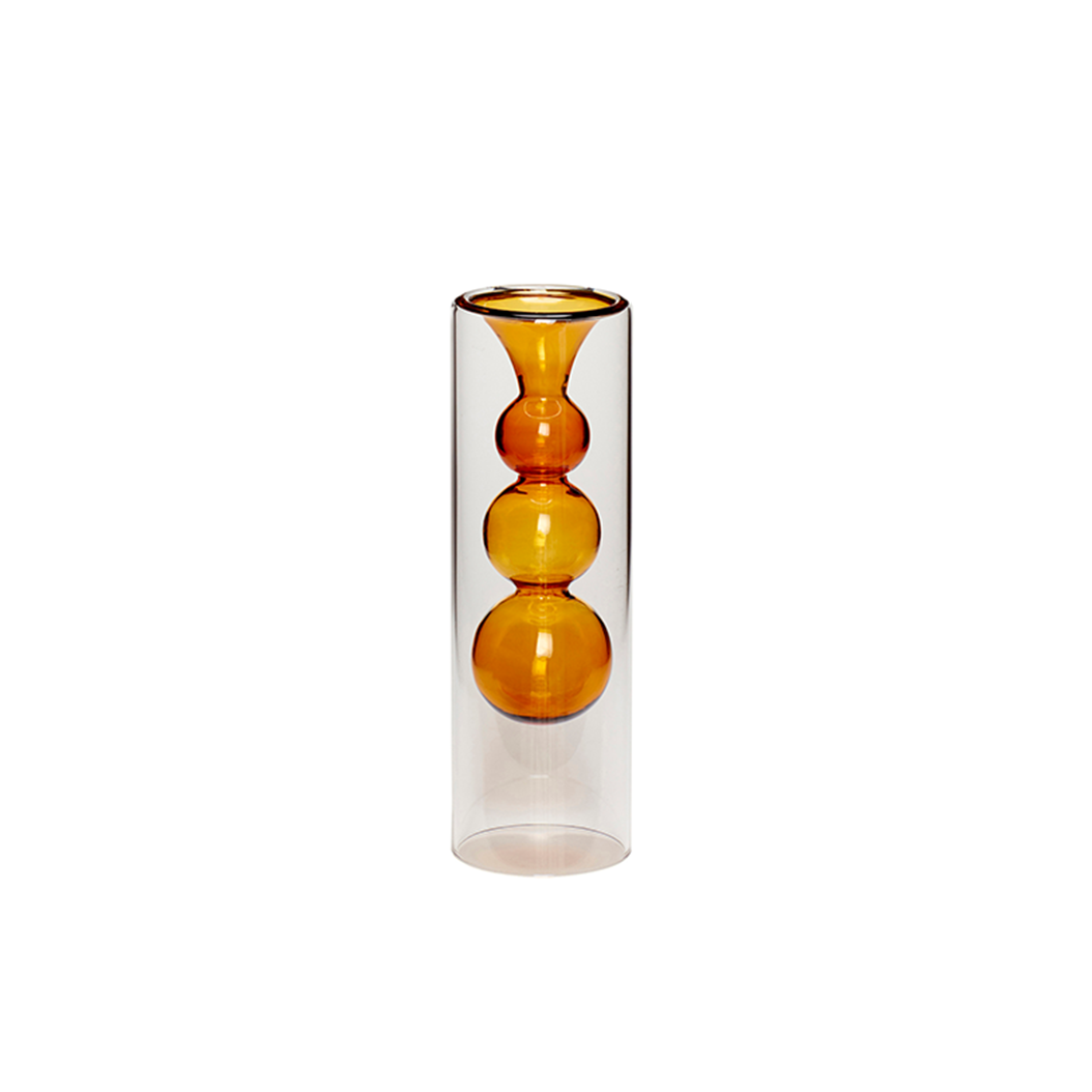 Amber Bubble Glass Vase