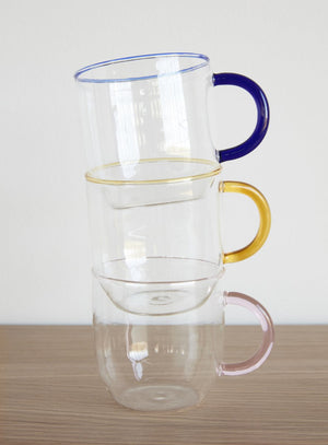 Clear Glass with Blue Handle