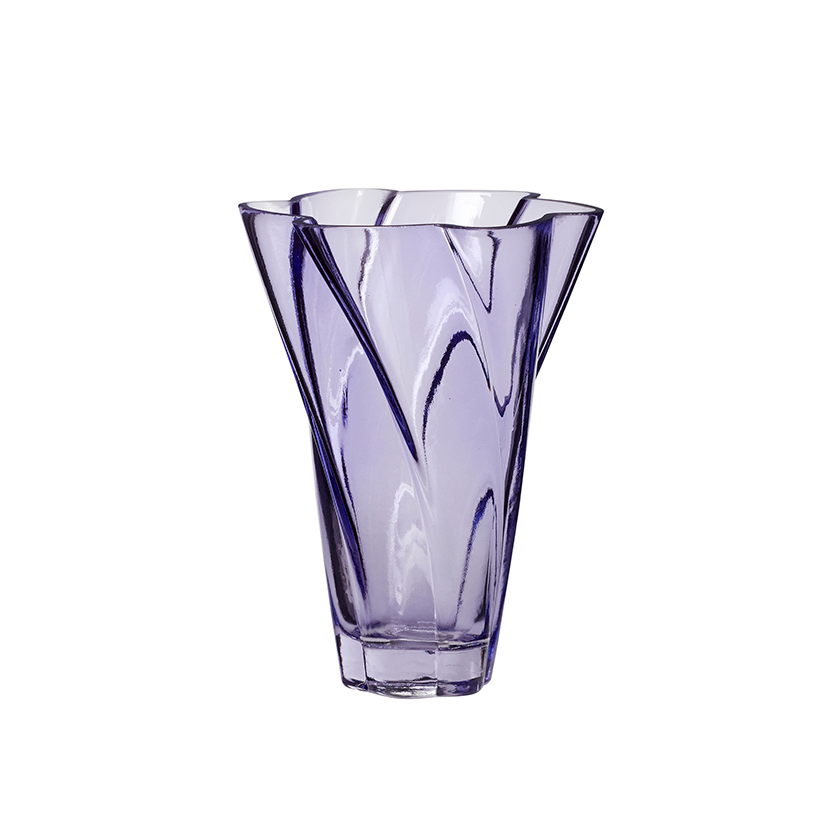 Purple Wavy Glass Vase