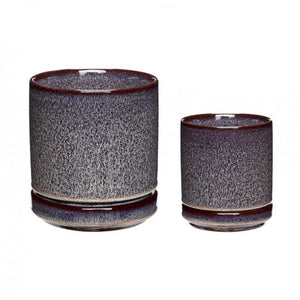Plum Ceramic Pot with White Spots Medium