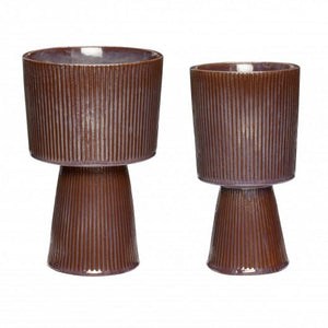 Fluted Ceramic Pot in Purple/Brown Large