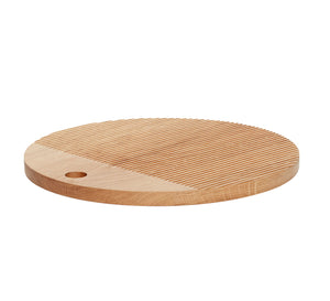 Hubsch Round Oak Cutting Board with Lines Large Size