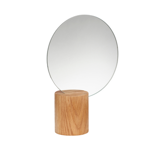 Round Table Mirror with Natural Oak Wood Stand