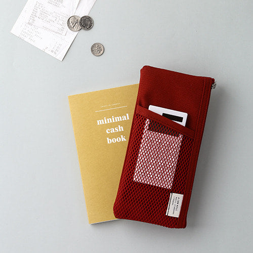 Mesh Pocket Pencil Pouch in Burgundy