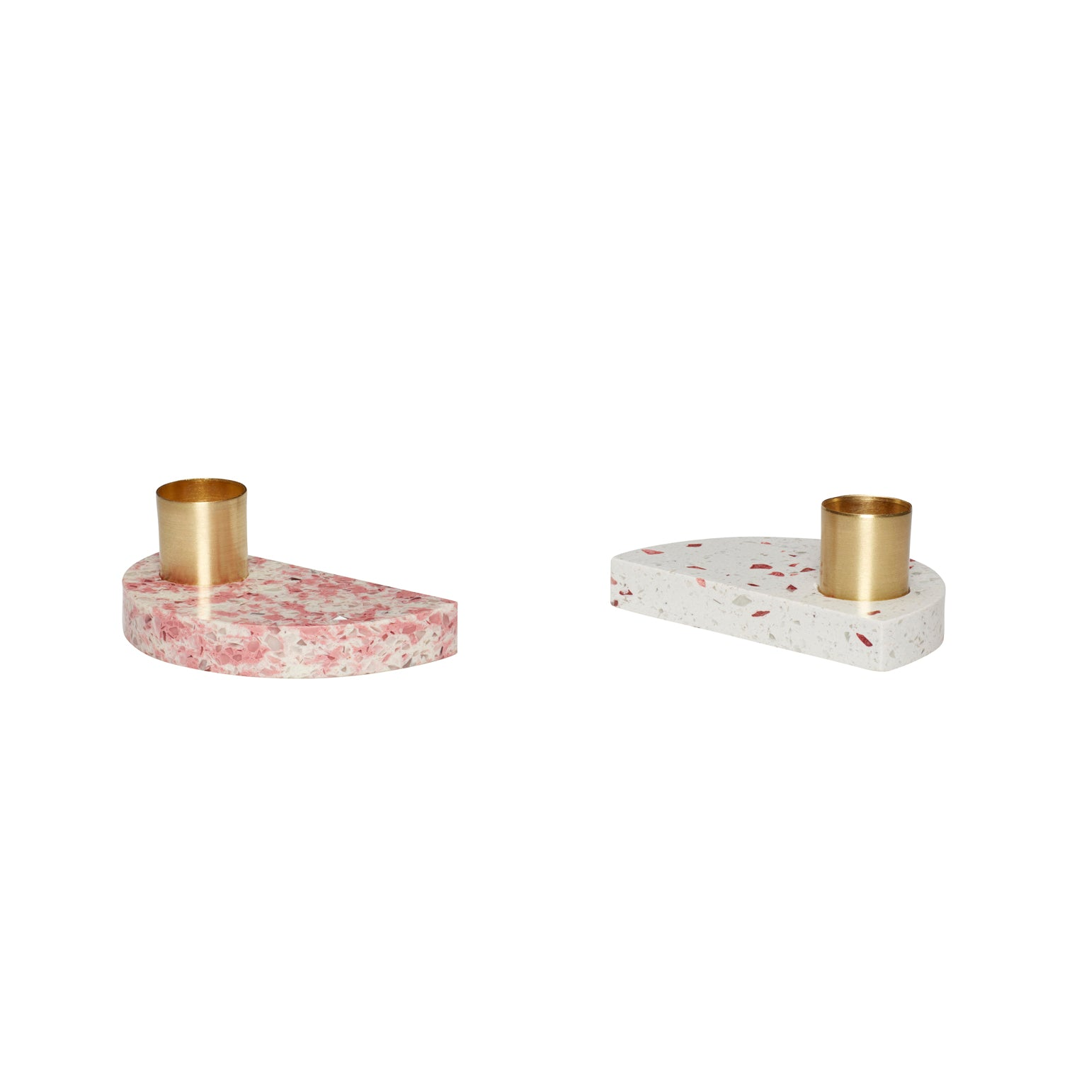 Half Moon Shaped Terrazzo Base Brass Candle Holder in Pink