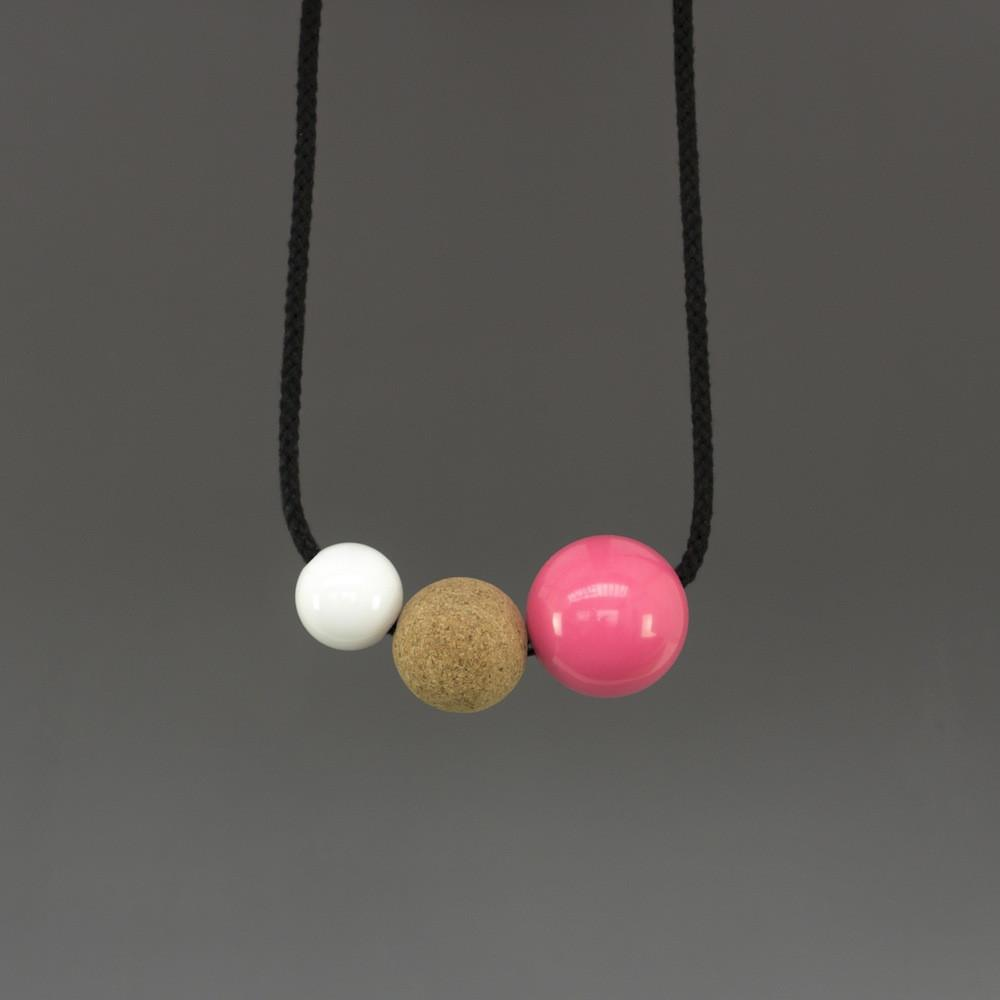 Anni Necklace with White Resin Ball, Cork Ball and Pink Resin Ball