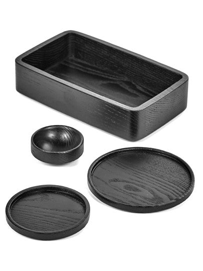 Black Round Wooden Tray Small