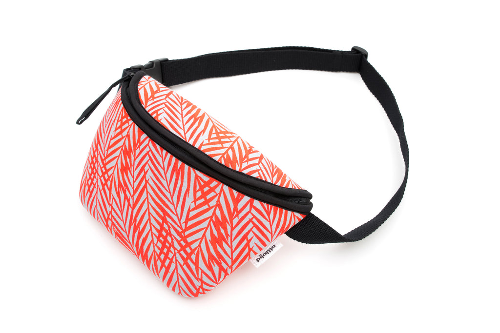 Bum Bag/Chest Bag with Adjustable Strap in Orange Fern Leaves Print