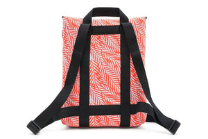 "Mini Backpack for 13"" Laptop in Orange Fern Leaves Print"