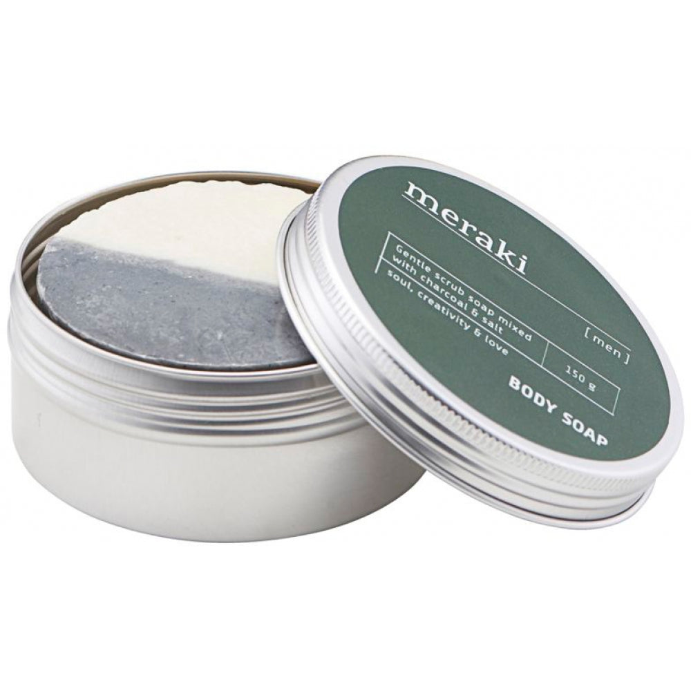 Charcoal & Salt Body Soap in a Tin