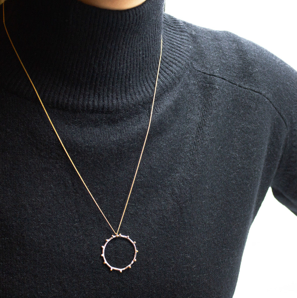 Necklace with Long Gold Plated Chain and Silver Round Globe Pendant