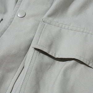Cord Hood Zip Jacket in Light Grey